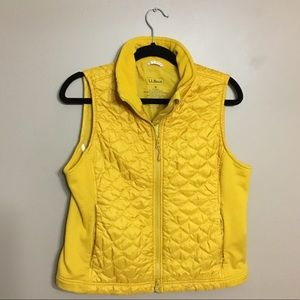 LL Bean golden yellow fleece poof vest